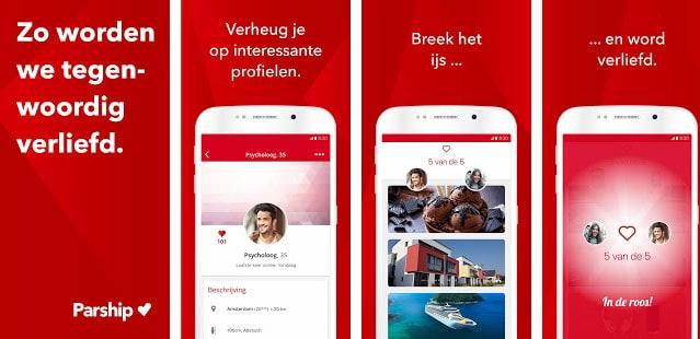 Screenshots van de app.